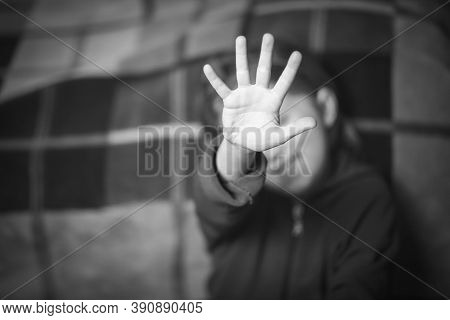 Stop Hand Of Child, Sign Of Discrimination Or Anti Violence Symbol. Stop Abusing Violence. Child Bon