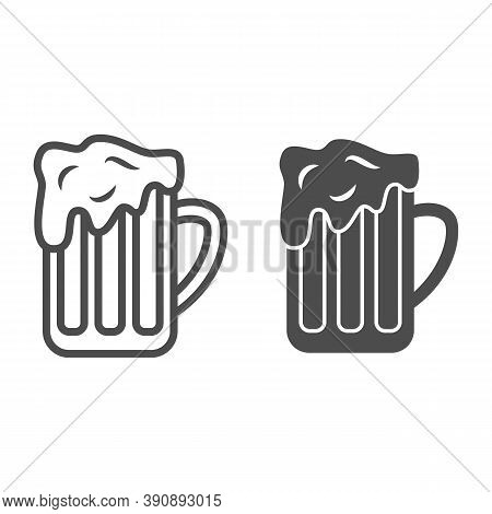 Mug Of Beer Line And Solid Icon, Oktoberfest Concept, Full Alcohol Drink Glass Sign On White Backgro