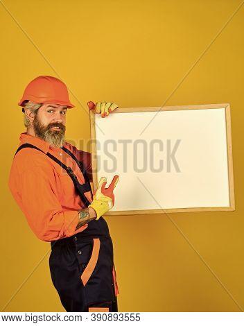 Bearded Man Repairman Builder. Plan Repair Works. Visual Outline. Repairman Hold Whiteboard Copy Spa