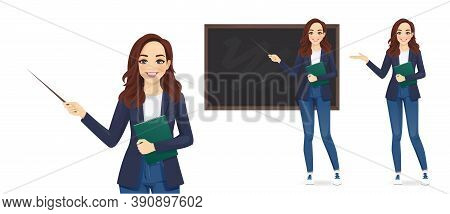 Female Young Teacher In Casual Clothes At Blackboard With Copy Space Showing Something Using Pointer