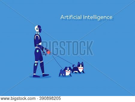 Smart Cyborg With Artificial Intelligence Supporting With Walking Dogs In Dark Background. Vector Gr