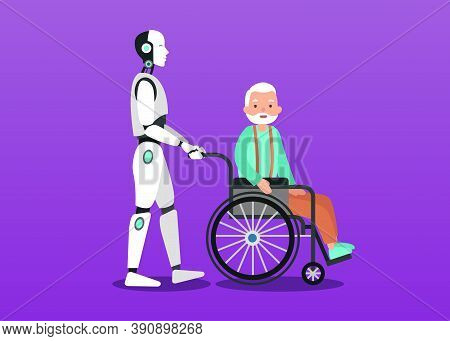 Clipart Illustration Of Cyborg Assistances And Cares About Grandfather He Sits On Wheelchair. Future