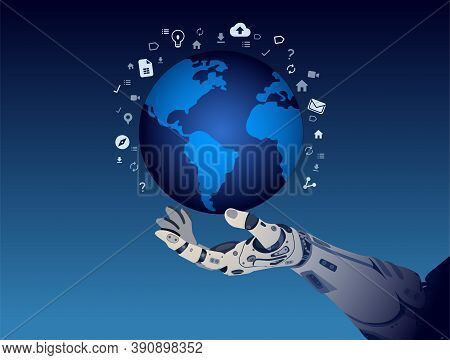 Illustration Of Futuristic Hand Of Cyborg It Holds A Planet With Media Icons Around In Dark Blue Bac