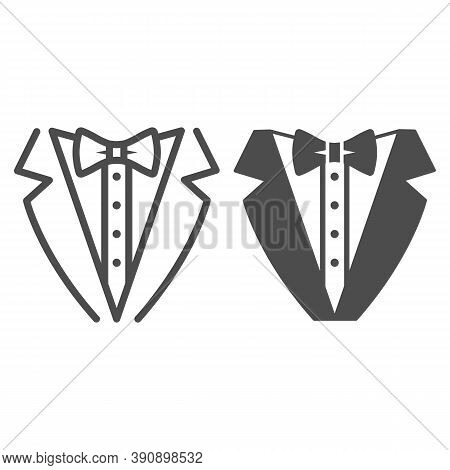 Tuxedo Line And Solid Icon, Sea Cruise Concept, Gentleman Formal Dinner Jacket Sign On White Backgro