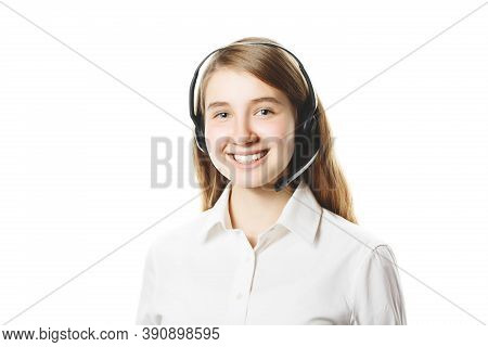 Call Center Worker On An Isolated White Background, Young Girl With Headphones And Microphone, Onlin