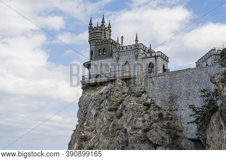Swallows Nest Castle On A Steep Cliff Is A Tourist Attraction In The Republic Of Crimea, Russia. Clo