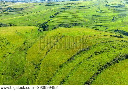 Aerial View Of Countryside Vibrant Green Hills. Transylvania, Romania