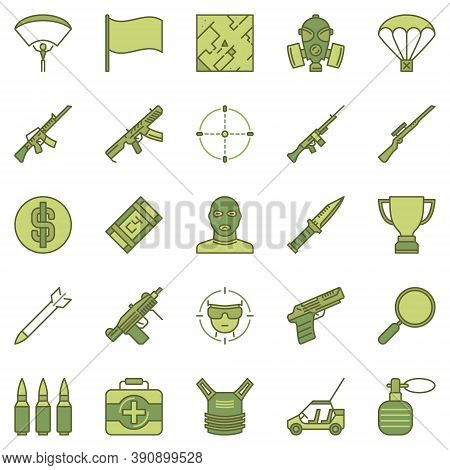 Battle Royale Game Concept Colored Icons Set. Vector Online Shooter Video Game Creative Signs