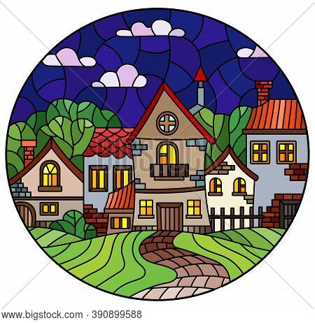 Illustration In The Stained Glass Style Of An Urban Landscape, Cozy Village Houses Against The Night