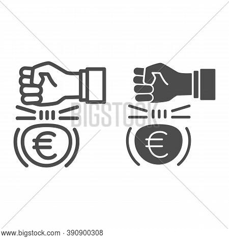 Fist And Euro Currency Line And Solid Icon, Economic Sanctions Concept, Hit Euro With Arm Sign On Wh