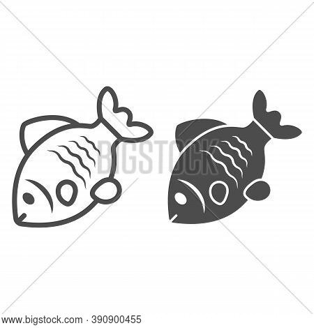 Stock Fish Line And Solid Icon, Oktoberfest Concept, Oktoberfest German Festival Traditional Food Si