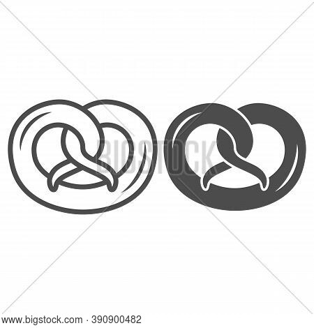 Pretzel Line And Solid Icon, Oktoberfest Concept, German Traditional Bakery Food Sign On White Backg