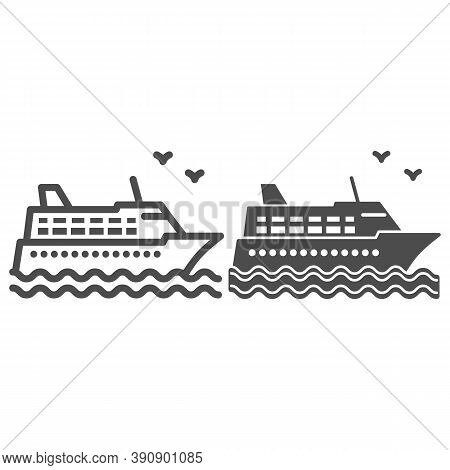 Cruise Ship Line And Solid Icon, Sea Cruise Concept, Sail Boat On Waves Sign On White Background, Se
