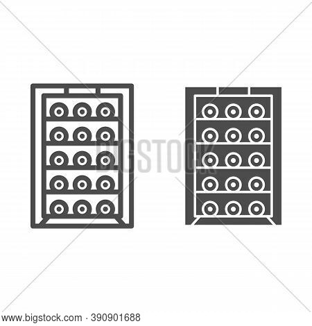 Cabinet With Bottles Of Wine Line And Solid Icon, Wine Festival Concept, Alcoholic Beverages On Shel