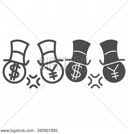Dollar And Yen Conflict Line And Solid Icon, Economic Sanctions Concept, Competition Currency In Hat