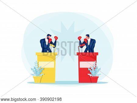 Two Men Active Political Discussion, Debating, Cartoon Flat
