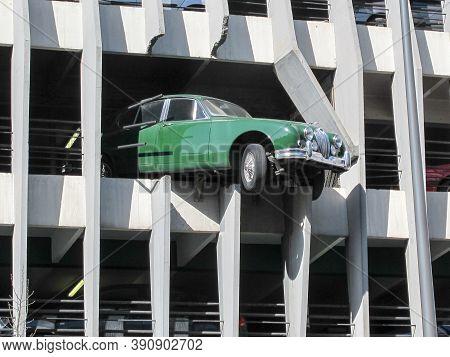 Bordeaux , Aquitaine / France - 11 19 2019 : Jaguar Automobile Vintage Under Wall Car Park Bordeaux