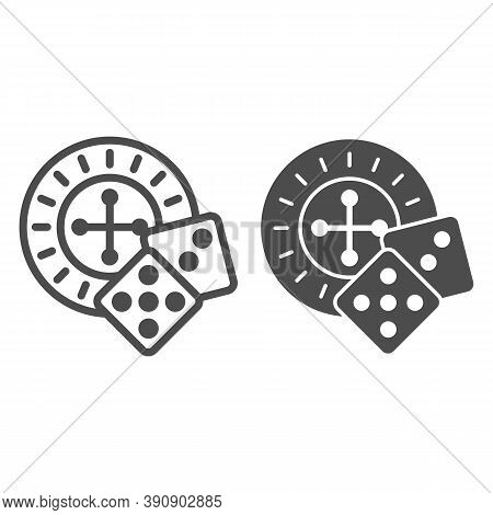 Roulette And Dice Line And Solid Icon, Sea Cruise Concept, Casino Sign On White Background, Roulette