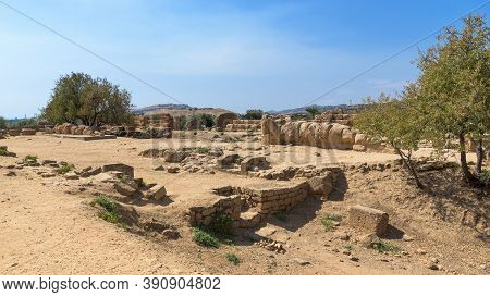 The Telamons Of The Temple Of Zeus In The Valley Of The Temples In Agrigento, Sicily, Italy