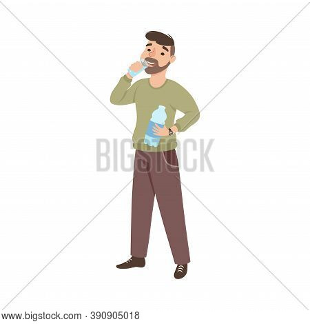 Bearded Man Drinking Water From Glass, Man Quenching Thirst, Healthy Lifestyle Concept Cartoon Style