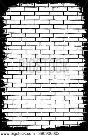 Grunge Texture Of An Old Brick Wall. Monochrome Background Of The Brickwork With The Vignette, Jagge