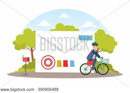 Postman Riding On Bike, Mailman In Blue Uniform Delivering Mails And Parcels To Customers, Mail Deli