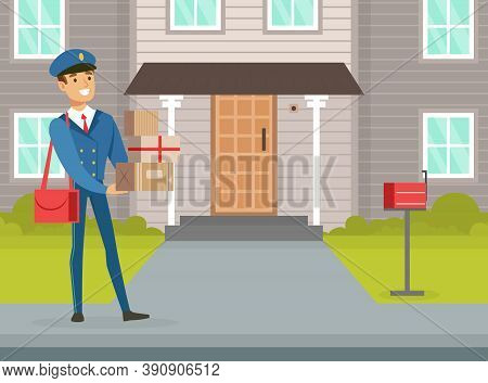 Postman Delivering Parcels At Home, Mailman In Blue Uniform Delivering Mails And Packagings To Custo