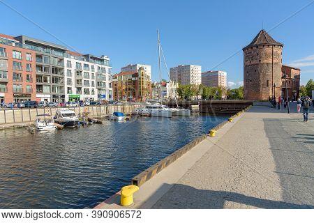 Gdansk, Poland - June 14, 2020: View Of Gdansk Marina On New Motlawa River At Granary Island At Sunn