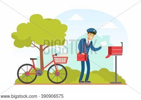 Postman Putting Letter In Mailbox, Mailman In Blue Uniform Delivering Mails To Customers On Bike, De