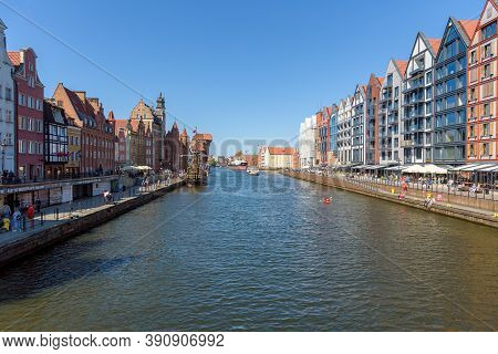 Gdansk, Poland - June 14, 2020: Famous View Of The Motlawa River At The Granary Island In The City D