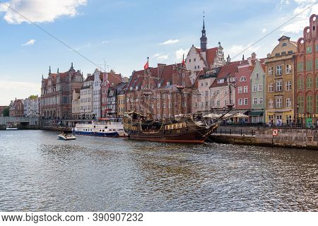 Gdansk, Poland - June 14, 2020: People Walk Famous Promenade At Motlawa River In The City Downtown N