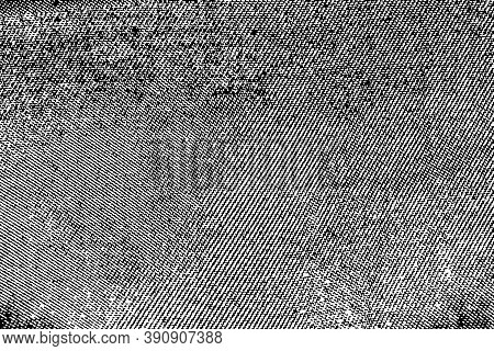 Grunge Dark Texture Of Coarse Fabric. Monochrome Background Of Uneven Canvas With Semitone, Spots, N