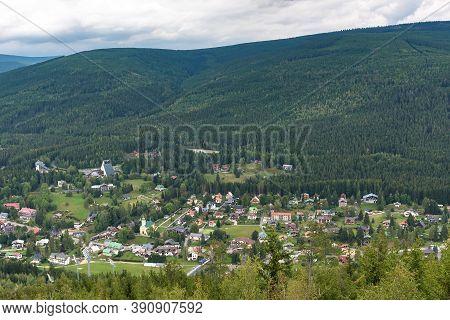 Summer Aerial View Of Harrachov Town In Czech Karkonosze Mountains
