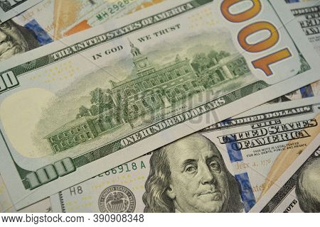 A Close-up On One Hundred Dollar Banknotes, Bills, American Dollars Cash Money As A Concept Of Inves