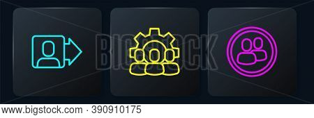 Set Line Team Leader, Project Team Base And . Black Square Button. Vector