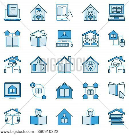 Homeschooling Creative Vector Icons. Online Tuition And Home Education Blue Concept Signs