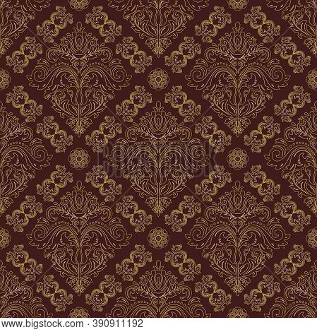 Orient Vector Classic Pattern. Seamless Abstract Bbrown And Golden Ackground With Vintage Elements.