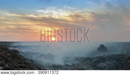Coast With Smoke After Wildfire. Burnt Wood On The Shore At Sunset