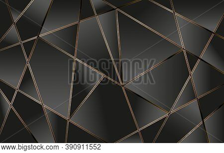 Line Golden Polygonal, Abstract Polygonal Lines Gold With Dark Black Background, Metal Background, P