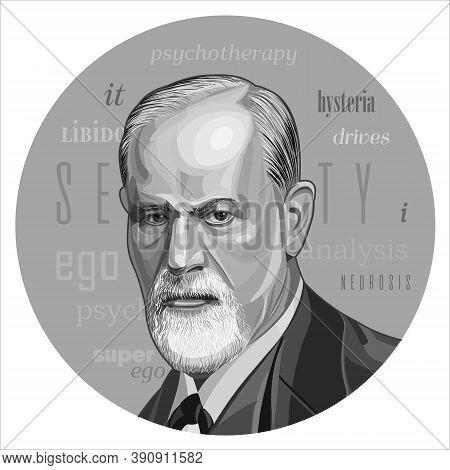 Sigmund Freud Vector Portrait. Austrian Neurologist And Founder Of Psychoanalysis, Dialogue Between