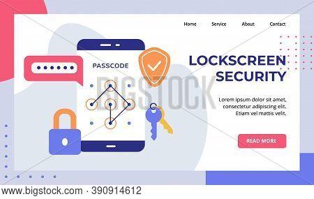 Lock Screen Security Password Passcode Padlock Key On Smartphone Screen Campaign For Web Website Hom
