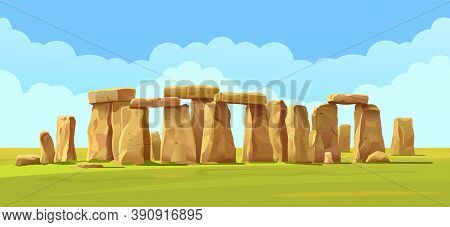 Stonehenge Stone Landscape On The Field, Blue Sky And Clouds. Vector Illustration