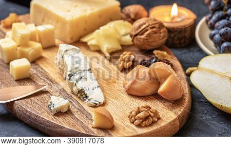 Cheese Plate From Different Kind Of Cheese - Emmental, Homemade, Parmesan, Blue Cheese, Bread Sticks