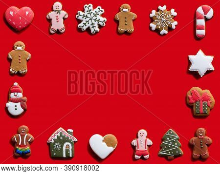 Red New Year Advertising Background. Biscuit Pattern Square Frame. Winter Holidays Ornament. Fun Gin