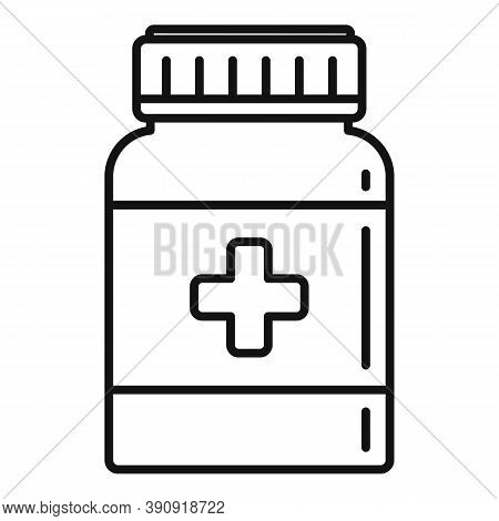Dose Capsule Jar Icon. Outline Dose Capsule Jar Vector Icon For Web Design Isolated On White Backgro