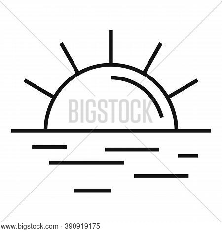 Beach Sun Rise Icon. Outline Beach Sun Rise Vector Icon For Web Design Isolated On White Background