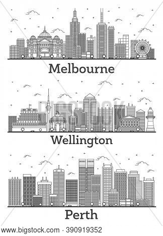 Outline Wellington New Zealand, Perth and Melbourne Australia City Skylines Set with Modern and Historic Buildings Isolated on White. Cityscapes with Landmarks.