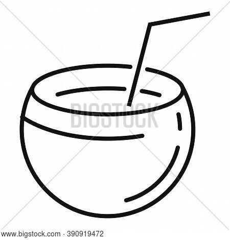 Coconut Cocktail Icon. Outline Coconut Cocktail Vector Icon For Web Design Isolated On White Backgro