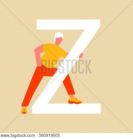 A Woman Stands Near A Capital Letter Z. A Flat Cartoon Character With An Upper Case Letter. Vector I