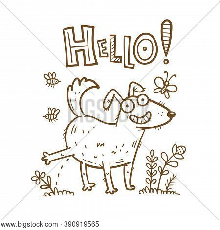Сard With Cute Cartoon Dog Peeing On Grass. Funny Puppy In Nature. Joyful Animal For A Walk. Vector